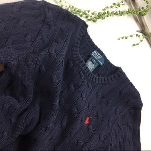 Ralph Lauren boys navy cable knit sweater Size 7